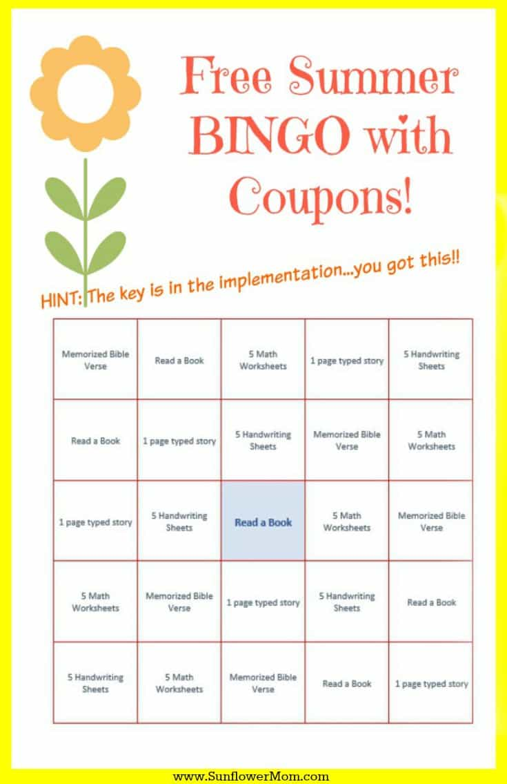 Fun Summer Learning BINGO. FREE customizable BINGO template and coupons. The key is in implementation to keep your kids happily reading and learning all summer long without your nagging! #summerschool #parenting101 #sunflowermom