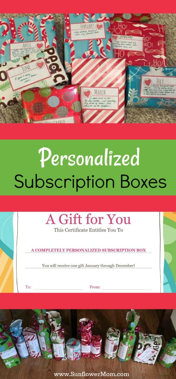 Subscription boxes are all the rage right now. But how about personalized subscription boxes? You control the costs and make a unique experience! Plus a free printable to give to your loved one!
