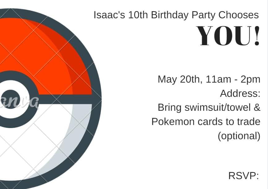 pokemon birthday party ideas for invitations