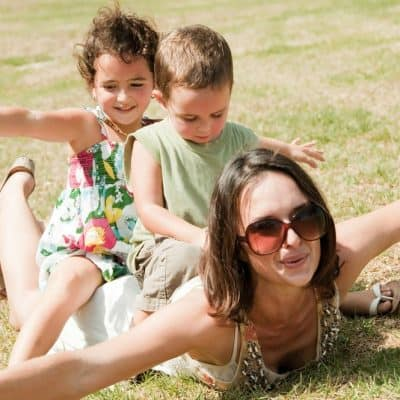mom and kids fun outside