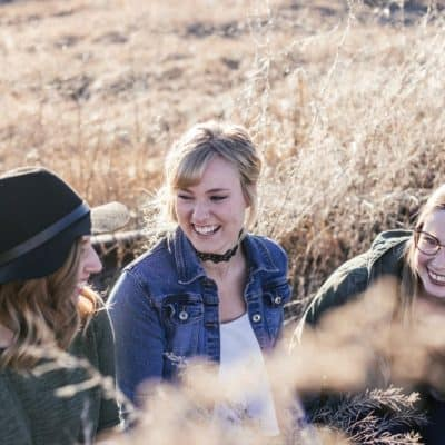 3 women outside talking