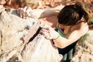 girl climbing a mountain