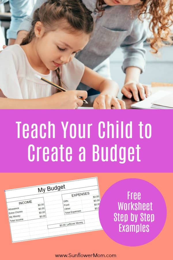 Budgeting for kids is straightforward with this free template. You'll teach your child the basics of a budget for a short time period, setting them up for success in the long run. Money doesn't have to be scary for kids. #money #budget #Parenting101 #money #positiveparenting #sunflowermom