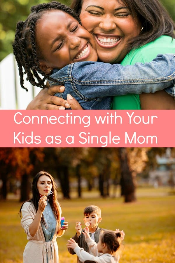 Although it may feel like the world is against you at times, connecting with your children as a single mom is totally doable! See how I\'ve been doing it for the last 7 years. Get your free printable coupons for single moms here. #singleparenting #singlemom #positiveparenting #sunflowermom