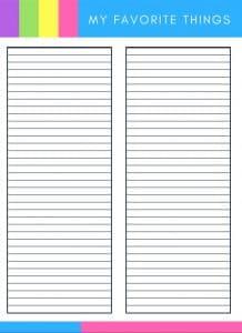 list of favorite things blank template