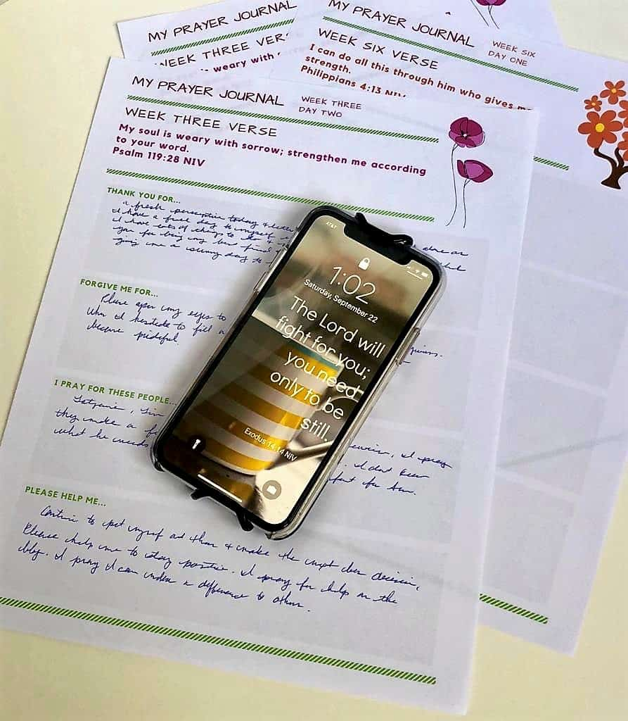 prayer journal phone screensaver