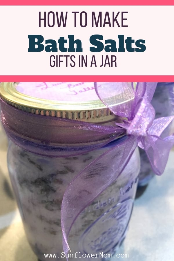 A fun gift to make a loved one are these cute mason jar bath salts. Add in some lavender buds and tint your mason jars and you have a fun craft project that you'll be proud to give as a gift!
