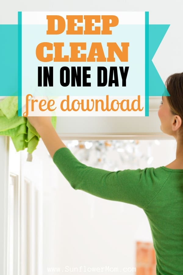 Spring cleaning in one day is possible by following these guidelines. Download your free printable of common spring cleaning tasks and create your agenda to deep clean in one day. #springclean #springcleaning #deepclean #sunflowermom