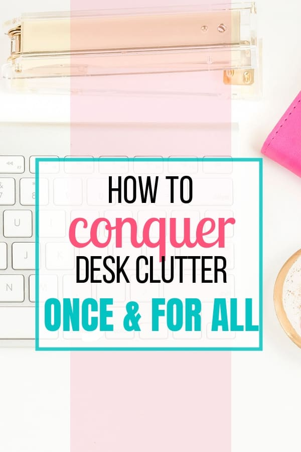 Get control of your desk clutter with these tips. Whether you use your desk for work, bills, or homework, you can make your desk more productive and clear it of clutter with easy steps. Free download included.  #declutter #organization #newyear #decluttering #organizing #sunflowermom