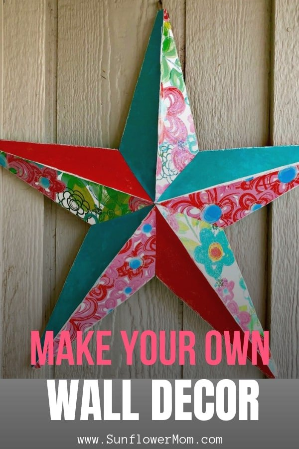 With just a few supplies you can transform a star used for yard art to your own DIY wall decor. Jump into this fun DIY craft project and adorn your walls with your own personality. #DIY #Handmade #Crafts #DIYHomeDecor #DIYProjects #HandmadeHomeDecor #DIYCrafts #sunflowermom