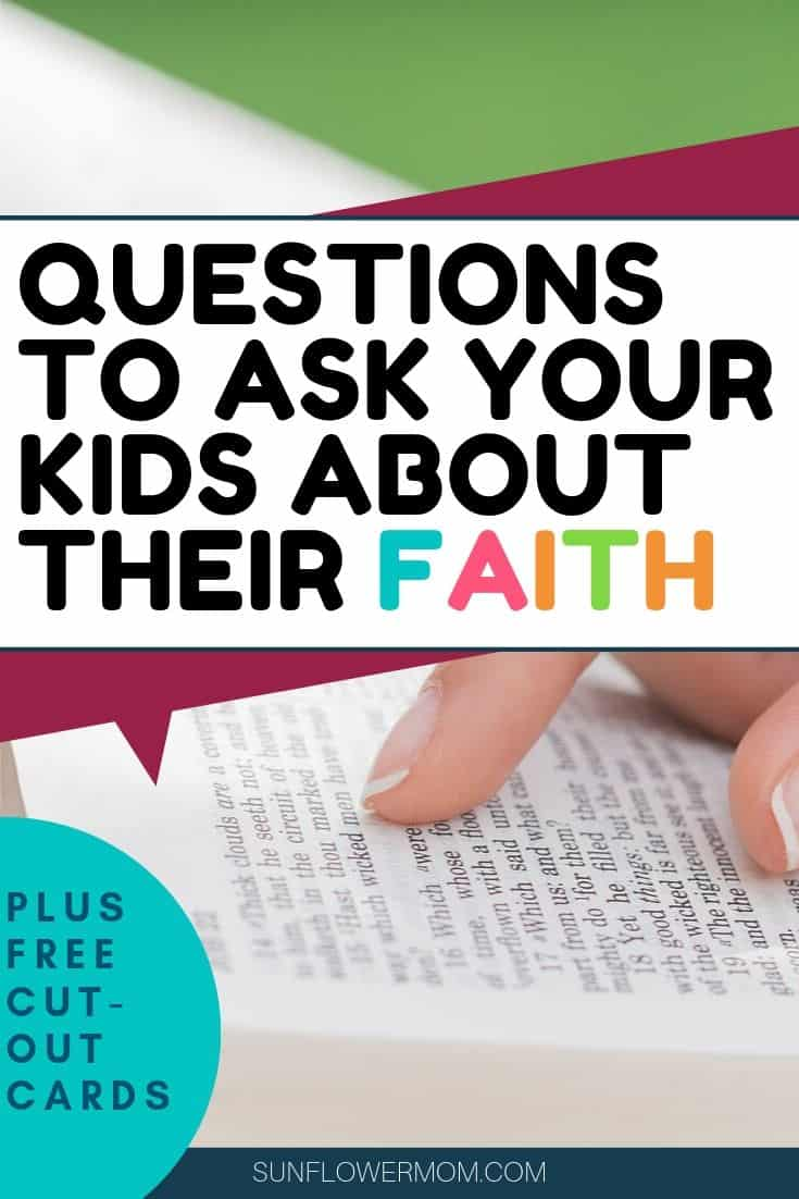 Start having conversations with your kids about their faith in God today using these 20 faith questions for youth. Encourage your youth to think for themselves about their faith so their love for God will come from within. Free download of faith question cards.  #jesus #christian #faith #sunflowermom