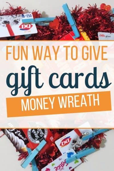 fun way to give money wreath