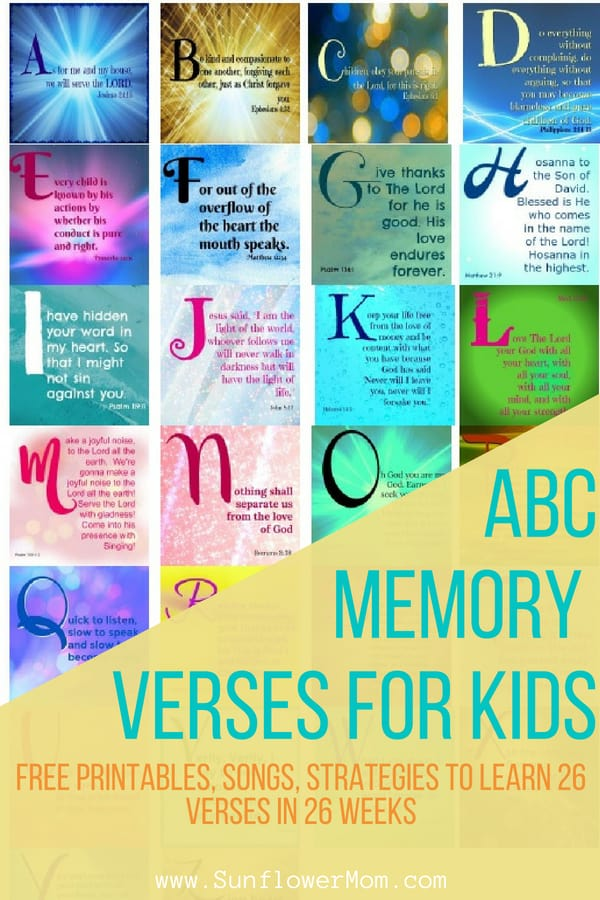 How to teach your kids bible verses. 26 ABC bible verses to memorize with your children. Includes free printables, links to 26 posts that break out each ABC bible verse with a YouTube video to enhance learning, free printable, background story. #Faith #Jesus #Christian #Christianity