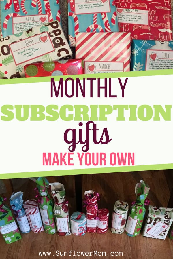 Surprise your loved one on Christmas with a monthly subscription gift that YOU create! Check out these ideas for a fabulous Christmas homemade gift. Your monthly subscription gifts are more personable and affordable than any subscription gifts you could buy. #holidays #christmas #homemade #sunflowermom