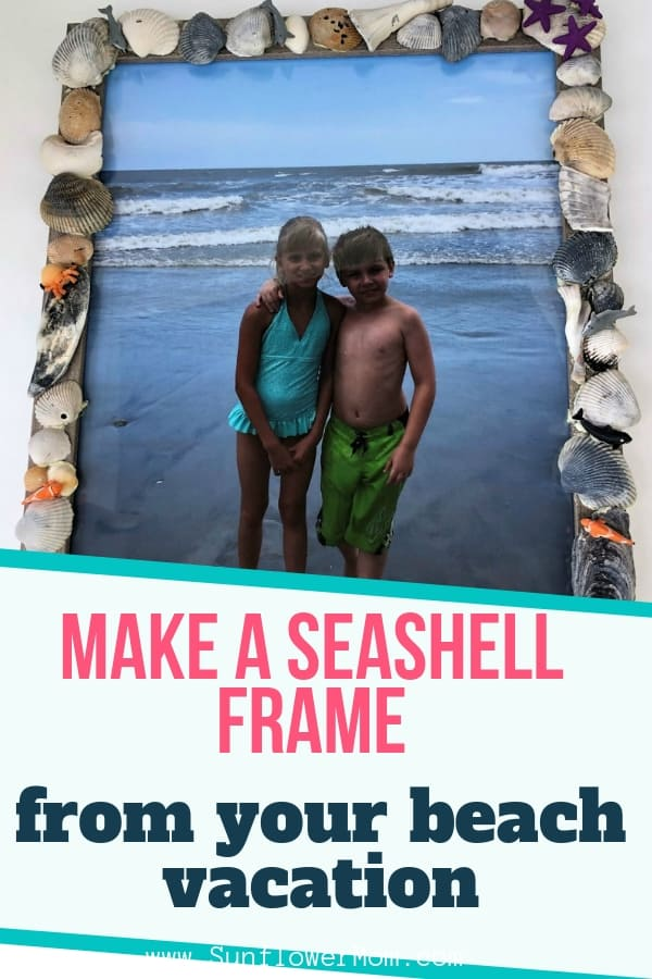 Here\'s how to bring your summer beach vacation home with you and display it all year long. Collect your favorite shells then make this beautiful seashell frame. #diy #homemade #vacation #beach #sunflowermom #memories