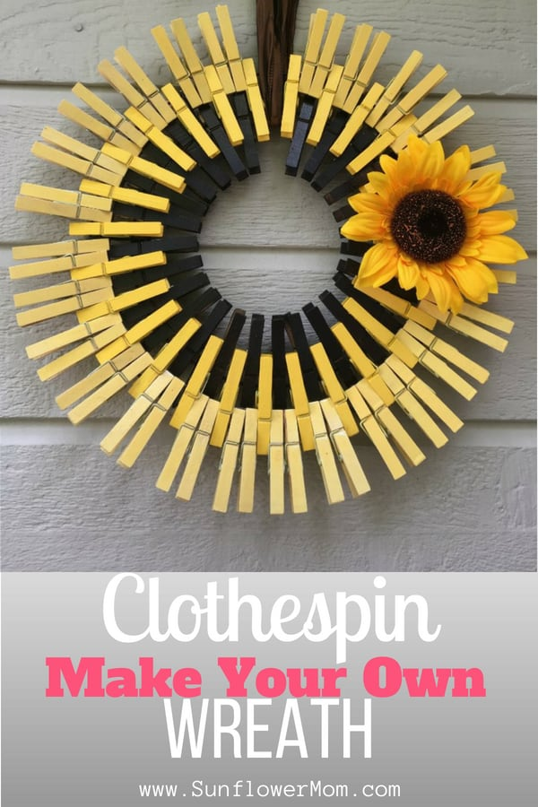 How to make a clothespin wreath. DIY instructions to make it your own: springtime wreath, or sunflower wreath, or more.  Clothespin wreaths are simple, easy and cheap. And looks adorable! #wreaths #DIY #crafts #sunflowermom