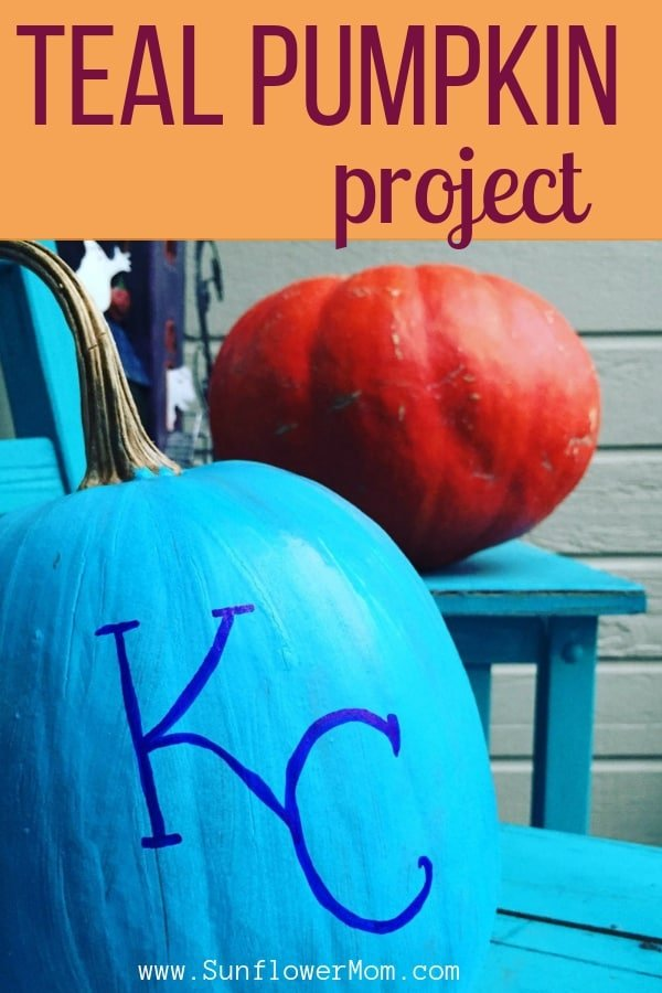 How you can participate in the Teal Pumpkin Project by making your own teal pumpkin. Plus ideas for what to hand out instead of candy for Halloween this year and why you will want to hand out non-candy items for Halloween.Make your own Teal pumpkin here. #halloween #holidays #sunflowermom