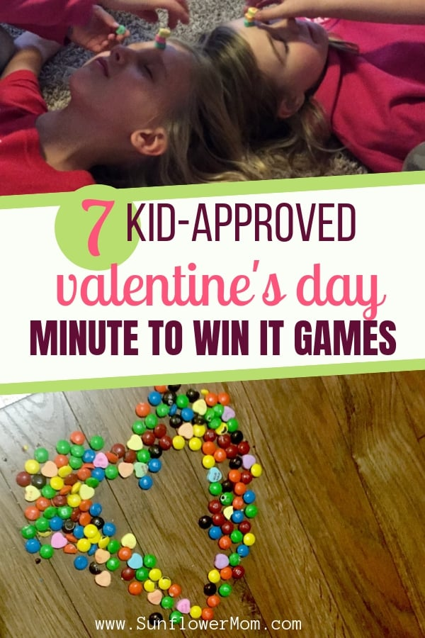 7 of the best Valentine\'s Day minute to win it games for kids. Spend $5 on Valentine\'s day candy and you\'ve bought your kids 2 hours of fun playing kids valentine games minute to win it style! #valentine #valentinesday #kidsgames #holiday